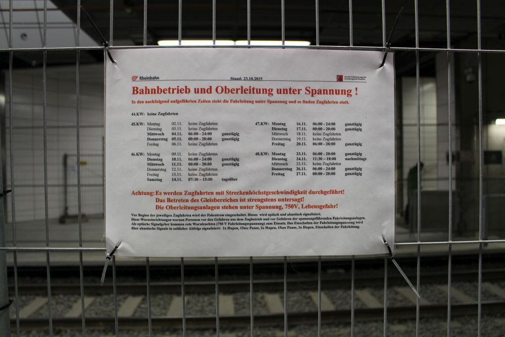 Fahrplan der Testfahrten von der Rheinbahn.